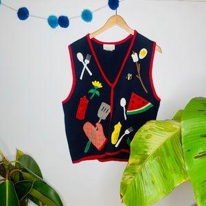 vintage vsco y2k chunky grandma cook sweater vest